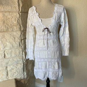 Boho Crochet Ivory Dress with tie neck